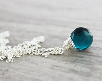 Dark Teal Necklace, Teal Blue Necklace, Teal Gemstone Necklace, Small Pendant Necklace, Sterling Silver Necklace, Wire Wrap Necklace