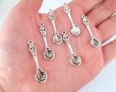 6 Silver Seashell Spoon Charms, #DH89
