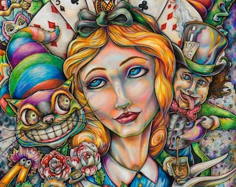 Alice In Wonderland limited edition Prismacolor print by Bryan Collins