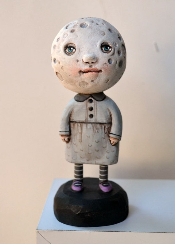 Anthropomorphic Moon Original Hand Painted Folk Art Doll Sculpture OOAK