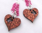 Wooden Puzzle Piece Heart Earrings Magenta and Silver Chain