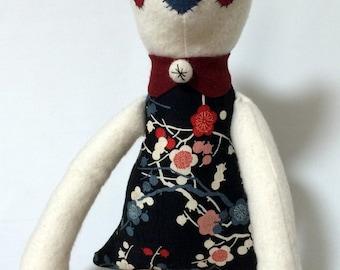 Plush Cat / Soft Doll / Stuffed Animal / Amelie the Cat / Art Doll / Toy / Handmade Softie