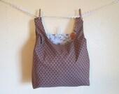 mocha scallop eco market tote, reusable fabric shopping bag