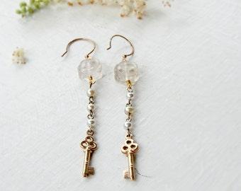 Antique Gold Key Earrings / Dangle Earrings / Petite Key Earrings