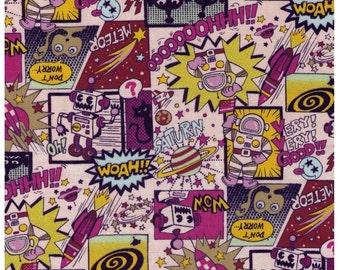 HALF YARD Kokka - Space Comics on Pink - ET, Astronaut, Comics, Alien, Robot, Planet, Rocket, Space - Japanese Import Fabric