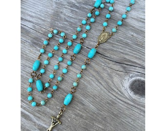 Bronze and Turquoise Catholic 5-decade Rosary