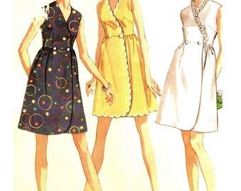 McCall's 9649 High-Waisted Front Wrap Dress circa 1969