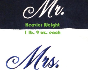 Mr. & Mrs. Beach Towels with Tote Bag THICK Embroidered 100% Cotton Terry Velour Bridal - Couple Shower - Wedding Gifts - Made To Order