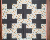 Plus Sign Modern Baby Quilt, Quilted Blanket Crib Bedding, Ready 2 Ship. Gray, Gold, Aqua Cotton Fabric. Baby Shower Gift.  Custom Available