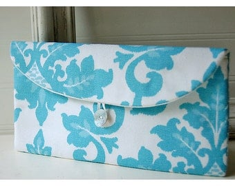 Blue Ivory Clutch Purse bridesmaid clutch shabby chic clutch damask blue clutch floral clutch Wedding clutch Bridal Clutch Bridesmaid Gift