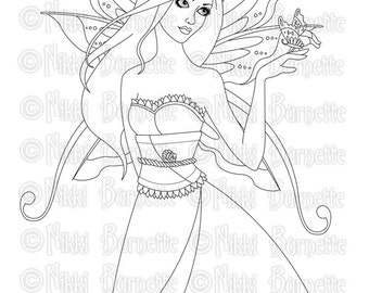 Digital Stamp - Printable Coloring Page - Fantasy Art - Fairy Stamp - Adult Coloring Page - Analiese - by Nikki Burnette - PERSONAL USE