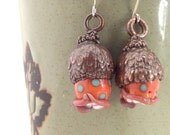 Electroformed Tree Meanie Glass and Copper Earrings Orange