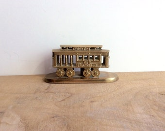 Souvenir of San Francisco Trolley Car, Brass Cable Car.  Little Brass Figurine - Made in India, Gold Collectible Trinkets and Tchotchkes.