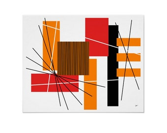 Rectilinear Art Print Linear Modern Abstract in Custom Colors Size and Papers