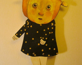 pumpkin girl art paper doll , halloween paperdoll , whimsical, wall hanging