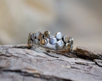 Sterling silver ring, mixed metal ring, wedding ring, wedding band, dots ring, silver gold ring, thin dainty band - Yet to discover  R1175G
