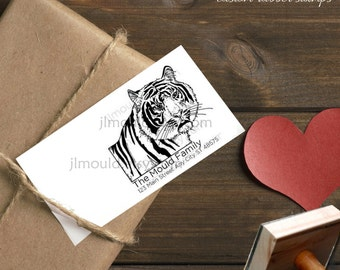 0006 JLMould Hand Drawn Tiger Wedding Custom Rubber Stamp Red Rubber Wood Block with or without Handle