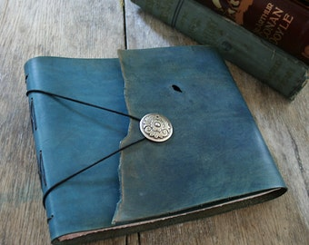 "Leather Sketchbook / Guestbook . 7.25"" high x 8.5"" wide. Handmade Handbound . hand-dyed antique blue (320pgs)"