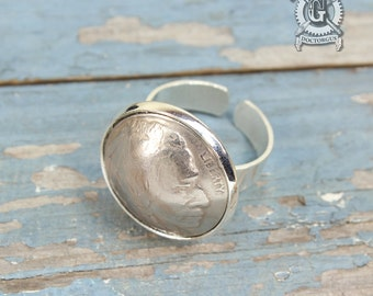 Dapped Buffalo Nickel Adjustable Ring - Heads Up - A Repurposed Coin Creation By Doctorgus - Recycled Coin Jewelry - Gypsy Boho style