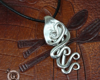 Flexus Fork Pendant - Handmade from Recycled Pewter Forks - Unique Silverware Jewelry Creations from Doctorgus - Steampunk Boho Style