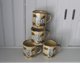 4 Vintage Coffee Mugs with Blue Flowers Made In Japan