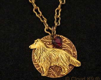 """COLLIE SHELTIE JEWELRY Necklace. Pendant Charm  """"I Heart"""" My Dog. Engravable Charm Pendant. Rough Collie / Shetland Sheepdog Gifts for Women"""