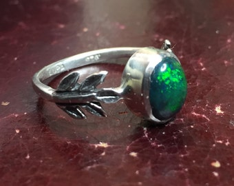 Black Opal and Sterling Silver- The Fire Leaf Ring, Green Flashes