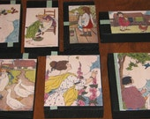 Primitive Style Wood Photo Block Set Of Seven Blocks Vintage Illustrations Blanche Fisher Wright