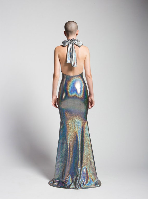 SALE Liquid Silver Holoraphic Gown with Mermaid Train