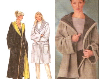Autumn Winter Coat Fall hooded jacket Simplicity 9401 sewing pattern Sz XS to XL Uncut Relaxed fit