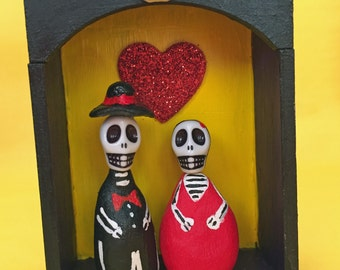 Day of the Dead Skelleton Nicho Shrine Alter Dia de los Muertos