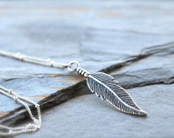 Large Silver Feather Layering Necklace. Sterling Silver BoHo Charm Necklace. Minimal, Simple, Leaf. Friendship Necklace