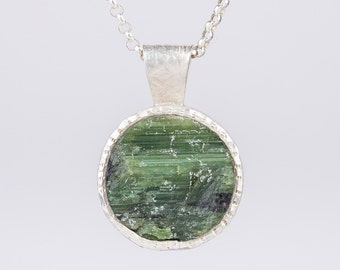 Green Tourmaline Rough Top Pendant in Sterling Silver, textured, natural, crystal, circle