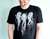 Octopus Tshirt, Boyfriend Tshirt, Mens Graphic Tee, Octopus Shirt, Science Fiction, Alien, Tentacles, Screen Print - Cosmoctopi Men's Tshirt