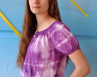 Purple tie-dye peasant blouse with short sleeves and crocheted lace trim one of a kind