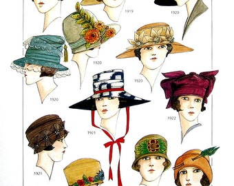Early 1900's Fashion Design - Women's Hats - 1910's to 1920's - Reference Material -1993 Vintage Book Page - 9.5 x 8