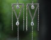 Silver Triangle Chandelier Earrings