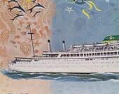 Vintage Cruise Ship, Moore McCormack 1960s Vintage Print Ad, Mermaid art, Original Advertising, vacation ad, ocean cruise liner, travel ad