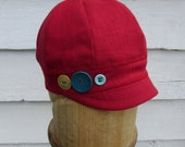 Women's Linen Cap Cherry Red Available in XS, S, M, L