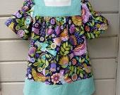 Toddler Girls Bird Dress, Made to Order in sizes 1T through 4T