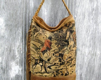 Victorian Equestrian Tall Leather Bucket Bag with Antique Fox Hunt Tapestry by Stacy Leigh Ready to Ship