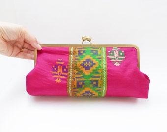 Clutch bag, magenta pink and green, Indian sari fabric, evening purse