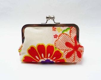 Clutch bag, vintage kimono fabric, floral silk purse, Japanese kimono