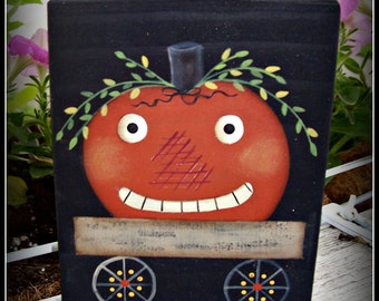 Halloween Pumpkin Wood Block Shelf Sitter Fall Home Decor Decoration
