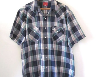 Vintage 60s 70s Ely Plains Blue and Green Plaid Short Sleeved Western Snap Button Shirt (size large)