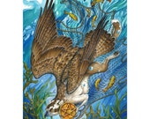 Page of Pentacles - Fantasy Gryphon Print - 78 Tarot Nautical Card Art - 8 X 12 inches