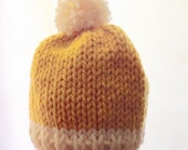 Knit Baby Hat, Pom Pom Baby Hat, Boy hat, Girl hat, Yellow and Cream