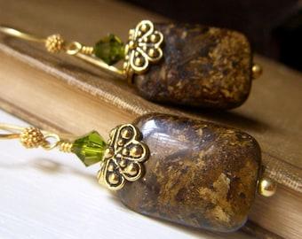 Bronzite Earrings, Gold Dangle, Fall Earrings, Brown Gemstone Earrings, Golden Brown Earrings, Beadstylin, Gemstone Jewelry