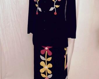 RARE Vintage 60s Designer Black Velvet Suit with Mod Floral Appliqué by Malcolm Starr Rizkallah