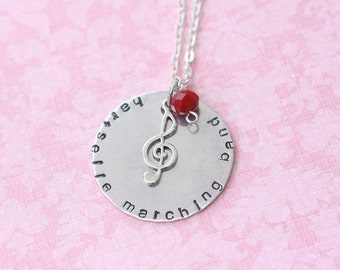 Custom Hand Stamped Marching Band / Chorus Necklace